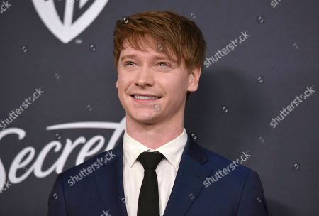 Calum Worthy arrives at the InStyle and Warner Bros. Golden Globes afterparty at the Beverly Hilton Hotel, in Beverly Hills, Calif