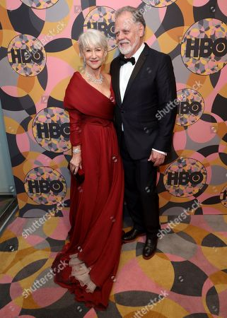 Helen Mirren, Taylor Hackford. Helen Mirren, left, and Taylor Hackford arrive at the HBO Golden Globes afterparty at the Beverly Hilton Hotel, in Beverly Hills, Calif