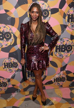 Merrin Dungey arrives at the HBO Golden Globes afterparty at the Beverly Hilton Hotel, in Beverly Hills, Calif