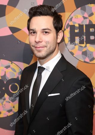 Skylar Astin arrives at the HBO Golden Globes afterparty at the Beverly Hilton Hotel, in Beverly Hills, Calif
