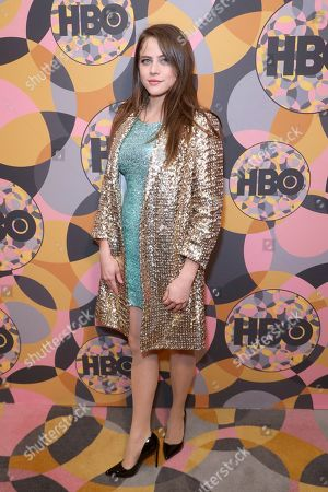 Stock Image of Olivia Luccardi arrives at the HBO Golden Globes afterparty at the Beverly Hilton Hotel, in Beverly Hills, Calif