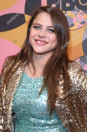 Olivia Luccardi arrives at the HBO Golden Globes afterparty at the Beverly Hilton Hotel, in Beverly Hills, Calif