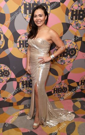 Sandra Santiago arrives at the HBO Golden Globes afterparty at the Beverly Hilton Hotel, in Beverly Hills, Calif