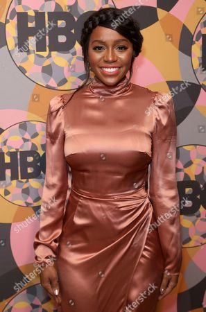 Aja Naomi King arrives at the HBO Golden Globes afterparty at the Beverly Hilton Hotel, in Beverly Hills, Calif