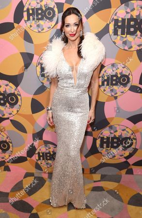 Sofia Milos arrives at the HBO Golden Globes afterparty at the Beverly Hilton Hotel, in Beverly Hills, Calif