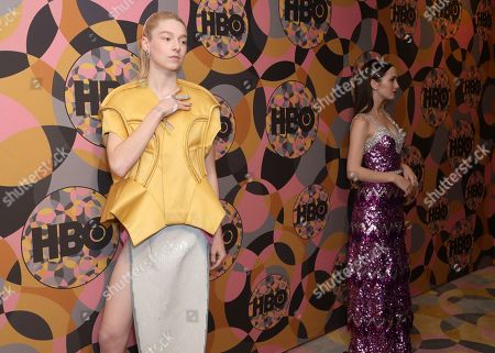 Hunter Schafer, Maude Apatow. Hunter Schafer, left, and Maude Apatow arrive at the HBO Golden Globes afterparty at the Beverly Hilton Hotel, in Beverly Hills, Calif