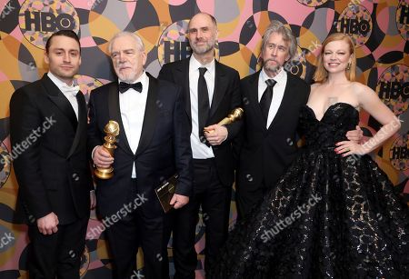 Kieran Culkin, Brian Cox, Jesse Armstrong, Alan Ruck, Sarah Snook. Kieran Culkin, from left, Brian Cox, Jesse Armstrong, Alan Ruck, and Sarah Snook arrive at the HBO Golden Globes afterparty at the Beverly Hilton Hotel, in Beverly Hills, Calif