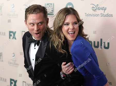 Billy Magnussen, Meghann Fahy. Billy Magnussen, left, and Meghann Fahy arrive at the FX and Disney Golden Globes afterparty at the Beverly Hilton Hotel, in Beverly Hills, Calif