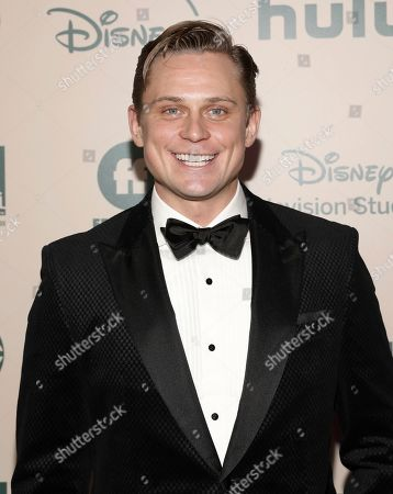 Billy Magnussen arrives at the FX and Disney Golden Globes afterparty at the Beverly Hilton Hotel, in Beverly Hills, Calif