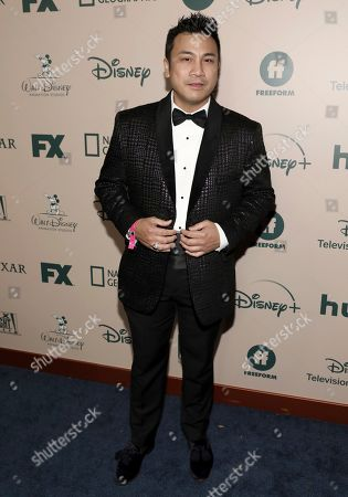 Christian Moralde arrives at the FX and Disney Golden Globes afterparty at the Beverly Hilton Hotel, in Beverly Hills, Calif