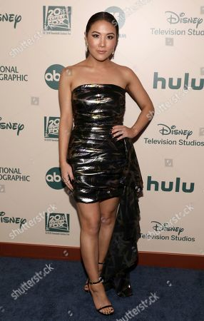 Ally Maki arrives at the FX and Disney Golden Globes afterparty at the Beverly Hilton Hotel, in Beverly Hills, Calif