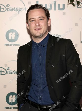 Lewis Pullman arrives at the FX and Disney Golden Globes afterparty at the Beverly Hilton Hotel, in Beverly Hills, Calif