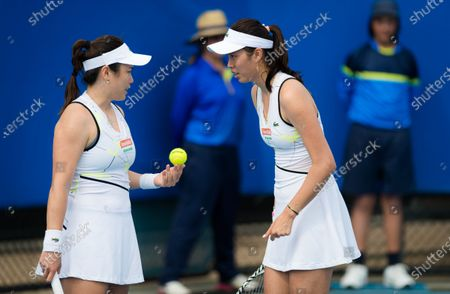 Latisha Chan and Chan Hao-ching of Chinese Taipeh playing doubles