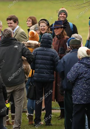 Prince William and Catherine Duchess of Cambridge, Lady Laura Meade (green outfit, centre), attended the St. Mary Magdalene Church Sunday morning service in Sandringham.