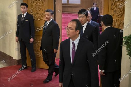 Stock Picture of Chinese President Xi Jinping (2-L) arrives for a meeting with Laos' Prime Minister Thongloun Sisoulith at the Great Hall of the People in Beijing, China, 06 January 2020.