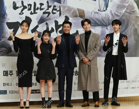 Stock Image of Cast members of SBS-TV's new drama 'Dr. Romantic 2'  Lee Sung-kyung, So Ju-yeon, Kim Joo-hun, Shin Dong-wook and Ahn Hyo-seop pose for a photo during a showcase at the broadcaster's building in Seoul, South Korea, 06 January 2020.