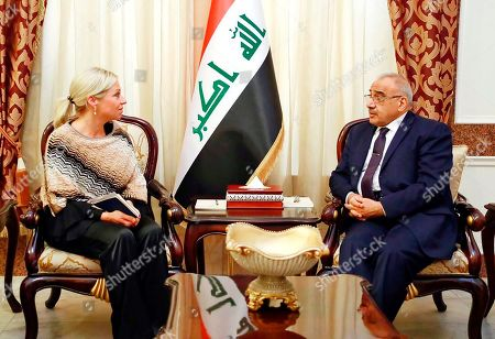 Adil Abdul-Mahdi, Jeanine Hennis-Plasschaert. A photo released by the Iraqi Prime Minister Media Office, shows Iraqi acting Prime Minister Adil Abdul-Mahdi meeting with the U.N. special representative to Iraq Jeanine Hennis-Plasschaert at the prime minister's office, in Baghdad, Iraq