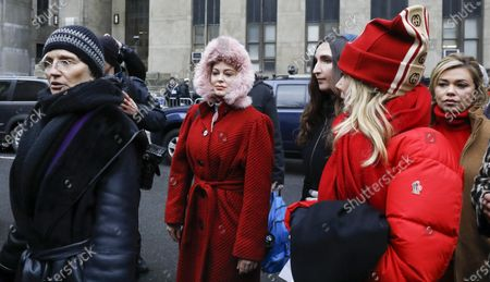 Actresses (L-R) Ellen Barkin, Rose McGowan, Rosanna Arquette and Lauren Sivan, who have all accused former Hollywood producer Harvey Weinstein of sexual assault, walk together to a press conference outside New York State Supreme Court on the first day of Weinstein's criminal trial in New York, New York, USA, 06 January 2020. The trial, which is expected to last for about eight weeks, is based on sexual assault and rape allegations of two other women.