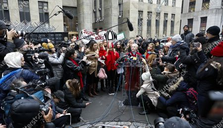 Actress Rose McGowan (R at mic) stands with other women who have all accused former Hollywood producer Harvey Weinstein of sexual assault during a press conference outside New York State Supreme Court on the first day of Weinstein's criminal trial in New York, New York, USA, 06 January 2020. The trial, which is expected to last for about eight weeks, is based on sexual assault and rape allegations of two other women.