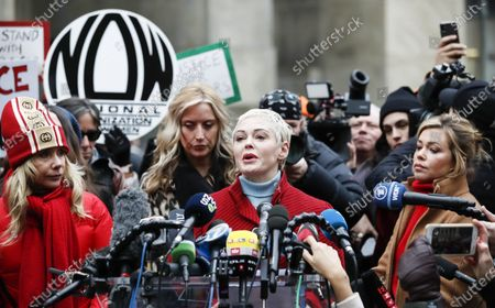 Actress Rose McGowan (2-R) talks to journalists during a press conference with other women who have all accused former Hollywood producer Harvey Weinstein of sexual assault, including Patricia Arquette (L) and television journalist Lauren Sivan (R), outside New York State Supreme Court on the first day of Weinstein's criminal trial in New York, New York, USA, 06 January 2020. The trial, which is expected to last for about eight weeks, is based on sexual assault and rape allegations of two other women.