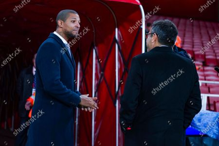 Andrea Radrizzani of Leeds United (owner) greets Jermaine Beckford during the The FA Cup match between Arsenal and Leeds United at the Emirates Stadium, London