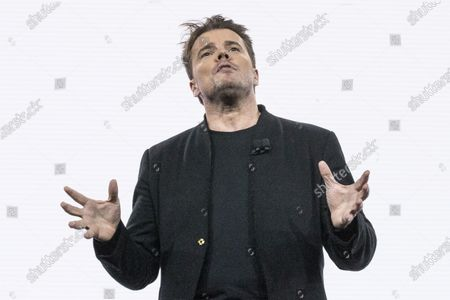 Stock Picture of Danish architect Bjarke Ingels delivers a speech presenting the Toyota Woven City, a futuristic city where new technologies will be tested, during the Toyota press conference at the 2020 International Consumer Electronics Show in Las Vegas, Nevada, USA, 06 January 2020. The annual CES which takes place from 7-10 January is a place where industry manufacturers, advertisers and tech-minded consumers converge to get a taste of new innovations coming to the market each year.