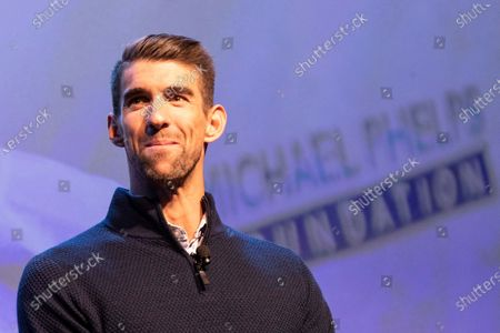 US swimmer Michael Phelps delivers a speech during the Panasonic press conference at the 2020 International Consumer Electronics Show in Las Vegas, Nevada, USA, 06 January 2020. The annual CES which takes place from 7-10 January is a place where industry manufacturers, advertisers and tech-minded consumers converge to get a taste of new innovations coming to the market each year.