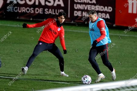 Atletico de Madrid's winger Joao Felix (L) and defender Santiago Arias (R) attend a training session at Wanda sports city in Madrid, Spain, 06 January 2020. Atletico de Madrid will face FC Barcelona during the Spanish Super Cup in Saudi Arabia on 09 January 2020.