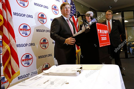 Tate Reeves, Lucien Smith. Lt. Gov. Tate Reeves speaks about the relationship President Trump has with Mississippi, prior to filing the ballot access documents on his campaign's behalf to the head of the Mississippi Republican party, right, in Jackson, Miss