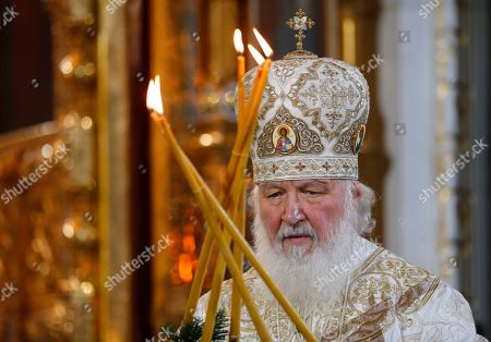 Russian Orthodox Patriarch Kirill serves the Christmas Mass in the Christ the Saviour Cathedral in Moscow, Russia, early. Orthodox Christians celebrate Christmas on Jan. 7, in accordance with the Julian calendar