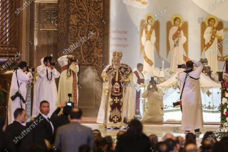 Stock Picture of Pope Tawadros II of Alexandria leads Egypt's Coptic Christmas eve Mass in Cairo, Egypt, 06 January 2020.