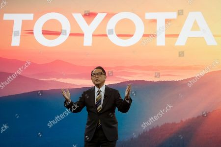 Toyota CEO Akio Toyoda talks about building the prototype Toyota city of the future, called the Woven City that will be a fully connected ecosystem powered by hydrogen fuel cells, before the CES tech show, in Las Vegas