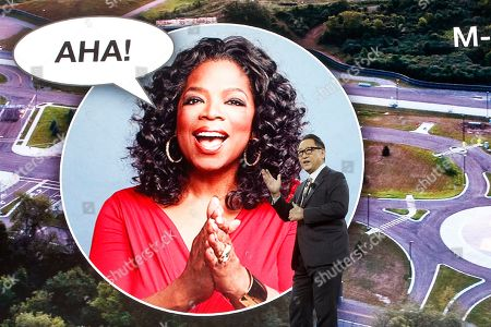 Toyota CEO Akio Toyoda refers to Oprah as he talks about building the prototype Toyota city of the future, called the Woven City that will be a fully connected ecosystem powered by hydrogen fuel cells, before the CES tech show, in Las Vegas
