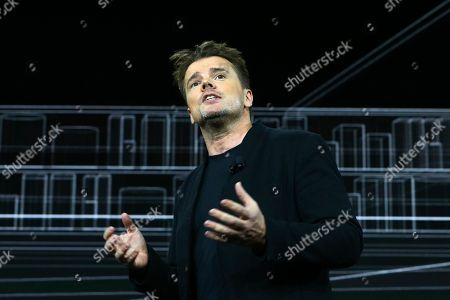 Stock Image of Danish architect Bjarke Ingels, CEO of Bjarke Ingels Group, talks about the design of the prototype Toyota city of the future, called the Woven City that will be a fully connected ecosystem powered by hydrogen fuel cells, before the CES tech show, in Las Vegas