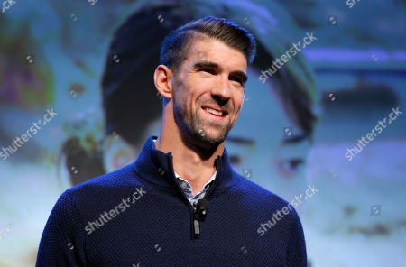 Michael Phelps speaks during a Panasonic news conference before the CES tech show, in Las Vegas