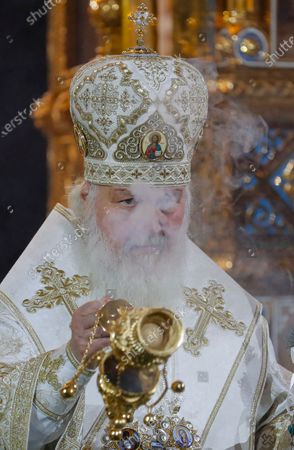 Patriarch of Moscow and All Russia Kirill leads a Christmas service at the Christ the Savior Cathedral in Moscow, Russia, 06 January 2020. The Russian Orthodox church celebrates Christmas on 07 January according to the Julian calendar.