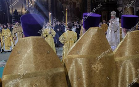 Patriarch of Moscow and All Russia Kirill (2nd-R) leads a Christmas service at the Christ the Savior Cathedral in Moscow, Russia, 06 January 2020. The Russian Orthodox church celebrates Christmas on 07 January according to the Julian calendar.