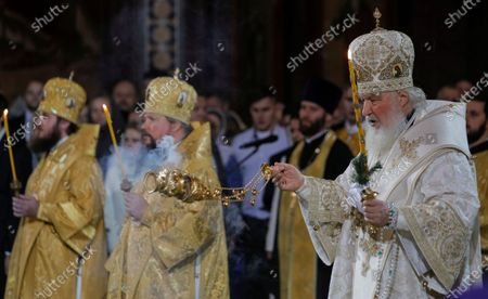 Patriarch of Moscow and All Russia Kirill (R) leads a Christmas service at the Christ the Savior Cathedral in Moscow, Russia, 06 January 2020. The Russian Orthodox church celebrates Christmas on 07 January according to the Julian calendar.