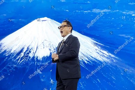 With the backdrop of Mount Fuji, Toyota CEO Akio Toyoda talks about building the prototype Toyota city of the future, called the Woven City that will be a fully connected ecosystem powered by hydrogen fuel cells, before the CES tech show, in Las Vegas
