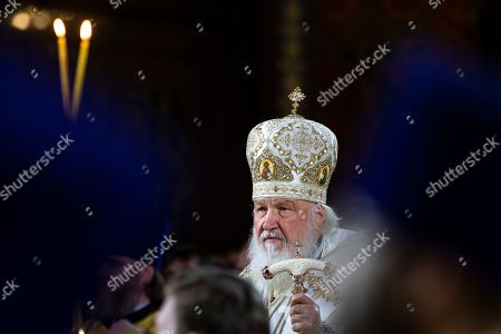 Russian Orthodox Patriarch Kirill serves the the Christmas Mass in the Christ the Saviour Cathedral in Moscow, Russia,. Orthodox Christians celebrate Christmas on Jan. 7, in accordance with the Julian calendar