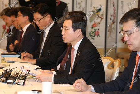 South Korea's Vice Finance Minister Kim Yong-beom (2-R) speaks at a meeting of economy-related vice ministers to deal with any fallout from the heightened tensions in the Middle East, at the government complex in Seoul, South Korea, 07 January 2020.