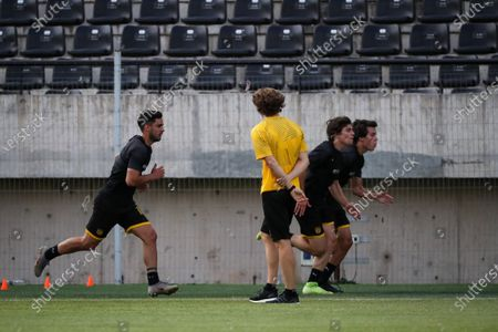 Penarol coach Diego Forlan (C) directs the first training of the year, at the Campeon del Siglo Stadium, in Montevideo, Uruguay, 06 January 2020. The Uruguayan former soccer player Diego Forlqn led his first training as a new coach of Penarol.