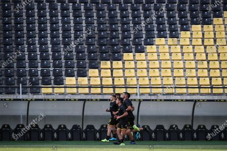 Stock Photo of Penarol players participate in the first training of the year, at the Campeon del Siglo Stadium, in Montevideo, Uruguay, 06 January 2020. The Uruguayan former soccer player Diego Forlqn led his first training as a new coach of Penarol.
