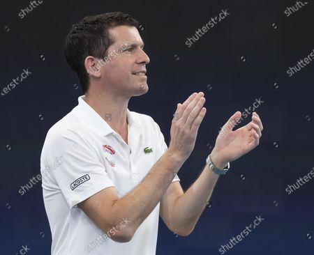 Tim Henman, captain of Great Britain, reacts during day five of the ATP Cup tennis tournament at Ken Rosewall Arena in Sydney, Australia, 07 January 2020.