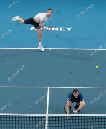 Jamie Murray (R) and Joe Salisbury (L) of Great Britain in action against Radu Albot and Alexander Cozbinov of Moldova (not pictured) during day five of the ATP Cup tennis tournament at Ken Rosewall Arena in Sydney, Australia, 07 January 2020.