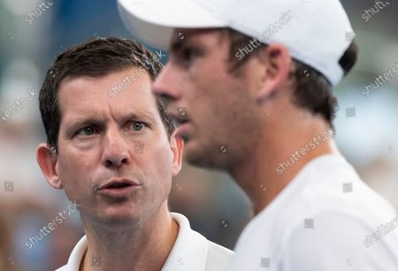 Tim Henman (L), captain of Great Britain, talks to Cameron Norrie (R) during day five of the ATP Cup tennis tournament at Ken Rosewall Arena in Sydney, Australia, 07 January 2020.