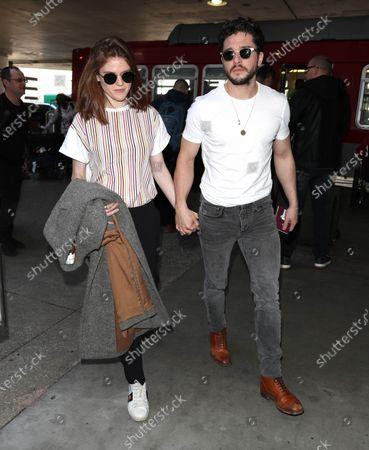 Editorial photo of Rose Leslie and Kit Harington at Los Angeles International Airport, USA - 06 Jan 2020
