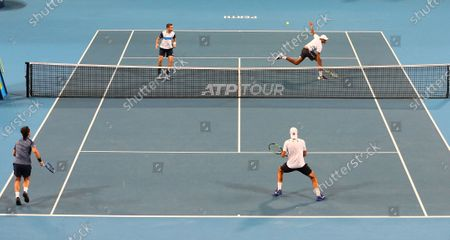 Stock Image of Rajeev Ram and Austin Krajicek (top) of the USA compete in the doubles match against Fabio Fognini and Simone Bolelli of Italy on day 5 of the ATP Cup tennis tournament at RAC Arena in Perth, Australia, 07 January 2020.