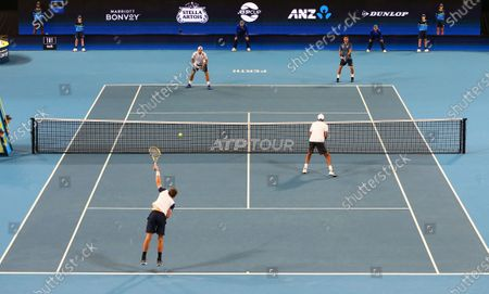 Stock Photo of Rajeev Ram and Austin Krajicek (front) of the USA compete in the doubles match against Fabio Fognini and Simone Bolelli of Italy on day 5 of the ATP Cup tennis tournament at RAC Arena in Perth, Australia, 07 January 2020.