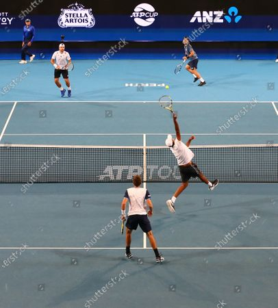Rajeev Ram and Austin Krajicek (front) of the USA compete in the doubles match against Fabio Fognini and Simone Bolelli of Italy on day 5 of the ATP Cup tennis tournament at RAC Arena in Perth, Australia, 07 January 2020.